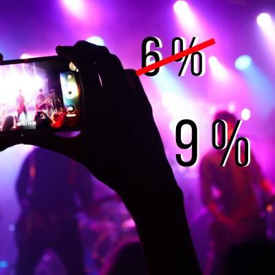 Verhoging btw over artiesten van 6% naar 9%