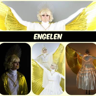 Grote Gouden Kerst Engelen - Steltloopact