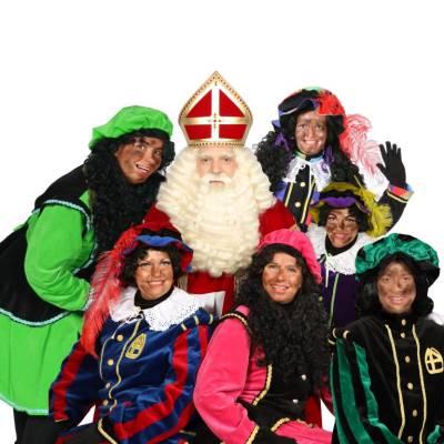 Bezoek Sinterklaas - Sinterklaas en 6 Zwarte Pieten