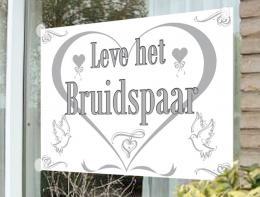 Raamvlag Leve het Bruidspaar | Partyspecialist.nl