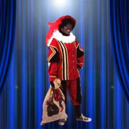 Zwarte Pieten Kostuum Fluweel Rood-Zwart