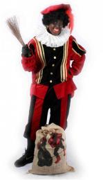 Zwarte Pieten Kostuum Fluweel Zwart-Rood huren | Sint en Kerst