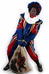 Zwarte Pieten Kostuum Fluweel Blauw-Rood