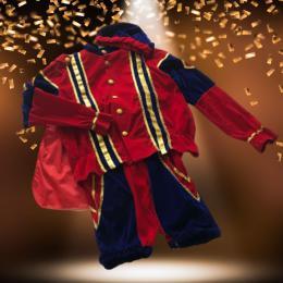 Zwarte Pieten Kostuum Fluweel Rood-Blauw huren | Sint en Kerst