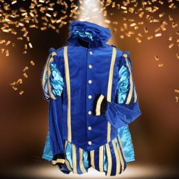 Zwarte Pieten Kostuum - Hoofd Piet - Zeer Luxe- Blauw