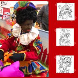 Sinterklaas en Pieten kleurplaten terras huren of boeken