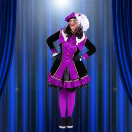 Luxe Zwarte Pieten kostuum - Dame Lila-Zwart | Sint en Kerst