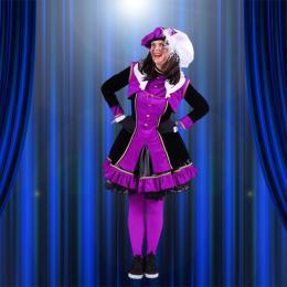 Luxe Zwarte Pieten kostuum - Dame Lila-Zwart