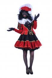 Luxe Zwarte Pieten Kostuum - Dame Rood-Zwart