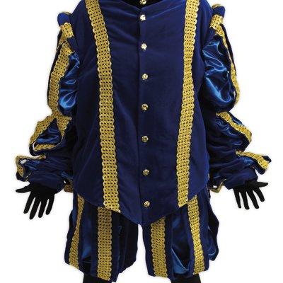 Foto van Zwarte Pieten Kostuum - Hoofd Piet - Zeer Luxe- Blauw   Sint en Kerst