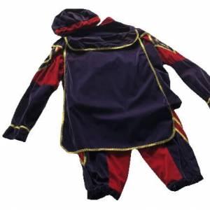 Piet kostuum imitatie fluweel achterkant