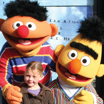 Bert en Ernie in Sesamstraat parade